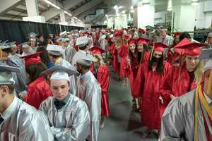 Niskayuna High School graduates are seen lined up in the corridor before their commencement ceremony at the Times Union Center on Wednesday, June 23, 2021 in Albany, N.Y. (Lori Van Buren/Times Union)