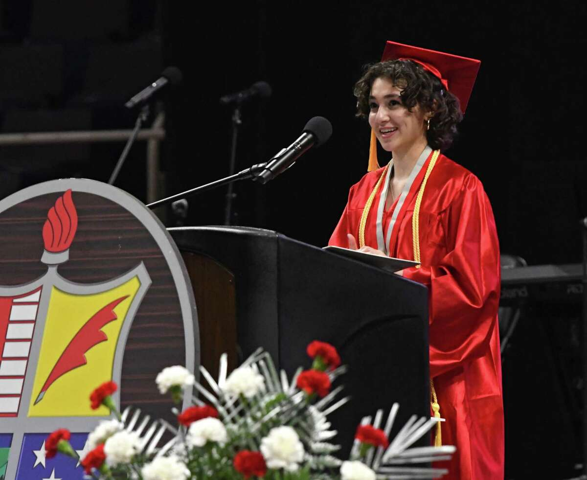 Niskayuna High School class president Enana Jacob delivers welcoming remarks at the beginning of the commencement ceremony at the Times Union Center on Wednesday, June 23, 2021 in Albany, N.Y. (Lori Van Buren/Times Union)