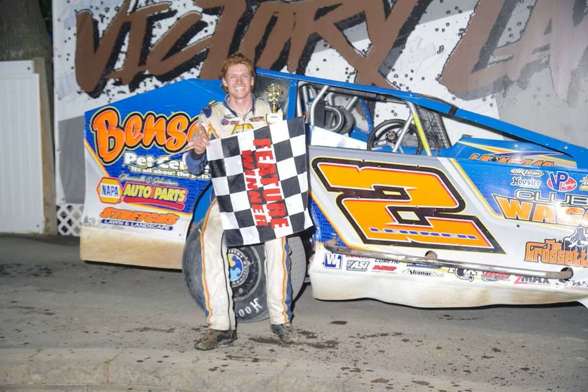Jack Lehner at Albany-Saratoga Speedway after his recent win. (Mark Brown Photography)