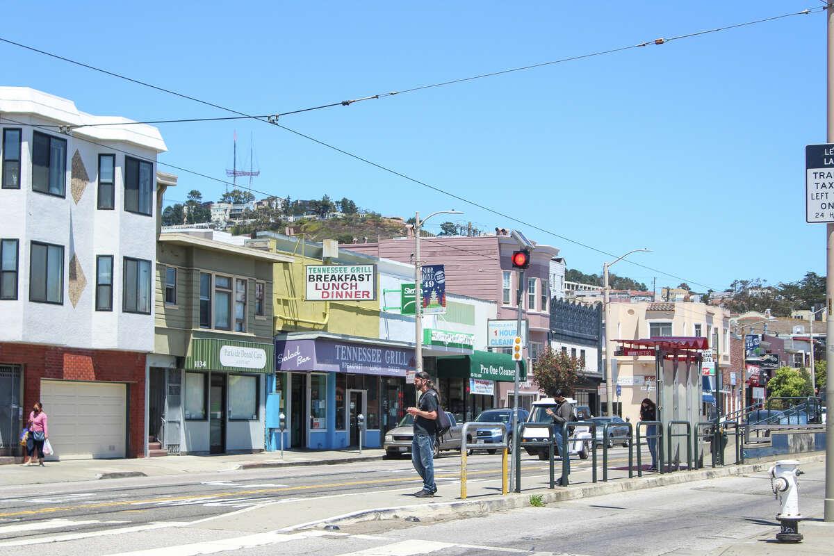Taraval Street in the Parkside neighborhood of San Francisco, as seen on 22nd Avenue.