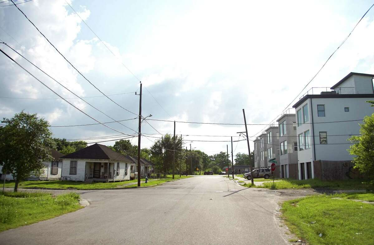 Homes on Rawley Street show the changes in housing in Houston's Fifth Ward neighborhood on Tuesday, June 22, 2021. London, an affordable housing advocate, wants housing to be affordable for people who grew up in the neighborhoods and want to stay.