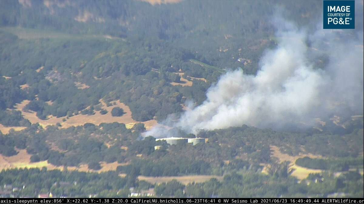 A PG&E webcam showed a wildfire that broke out in Sonoma on June 23, 2021.