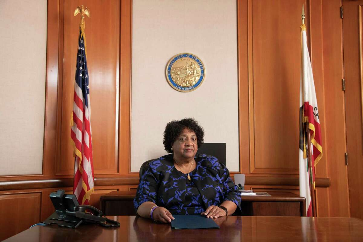 California's Secretary of State Shirley Weber poses for a portrait in her office in Sacramento, Calif. on Tuesday, March 9, 2021.