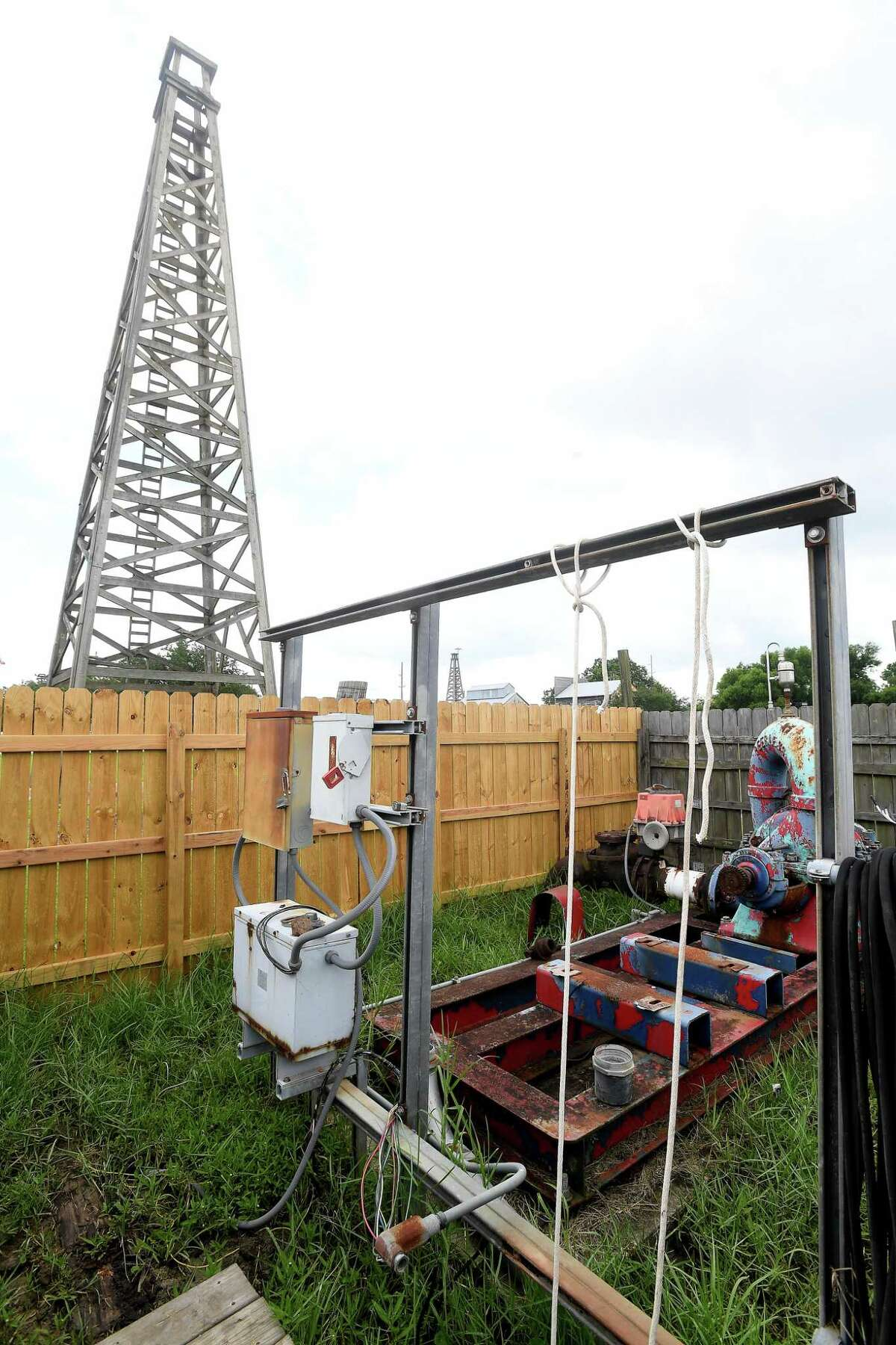 Spindletop Gladys City Boomtown Museum Director Troy Gray says the gusher pump unit was badly damaged during the winter freeze, leaving the museum without one of its favorite features for visitors - the blowing of the gusher. Gray recently got word that help was on the way, and the unit is out for repairs, with hopes of a return by July. Photo made Tuesday, June 22, 2021 Kim Brent/The Enterprise
