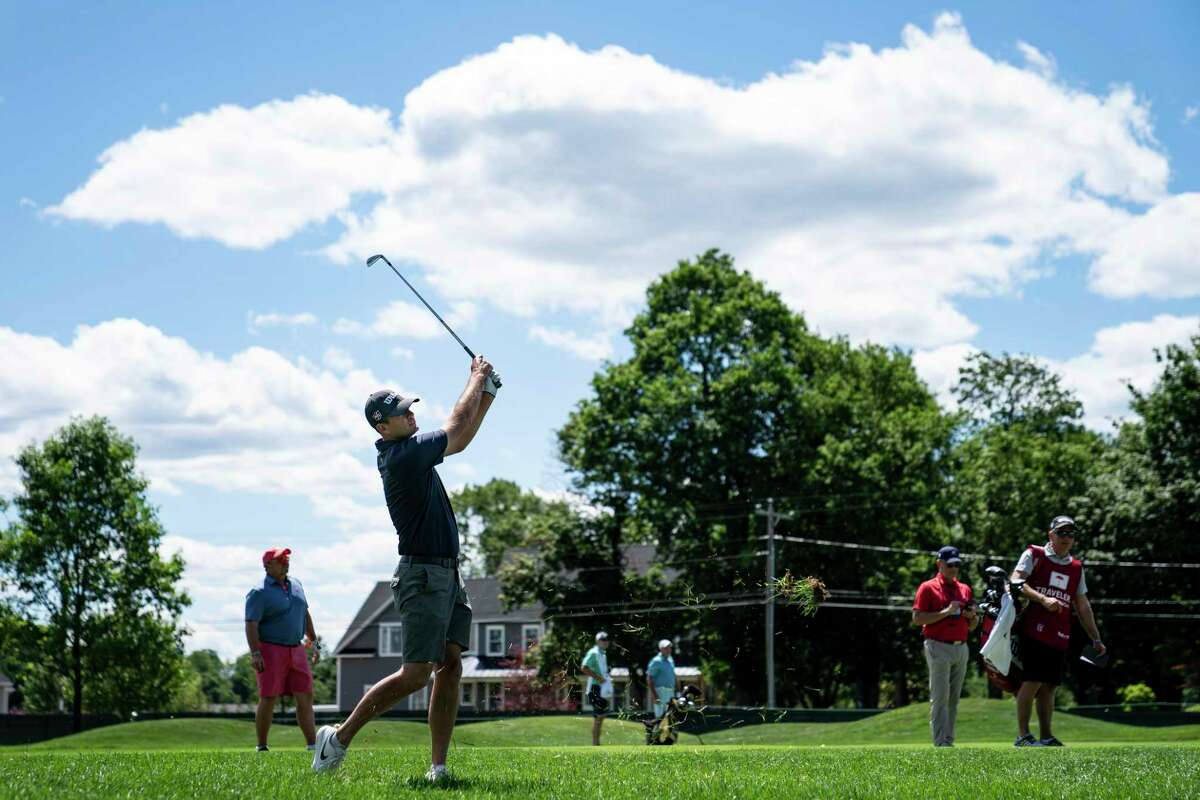 Brendan Steele watches his shot on the seventh fairway during the Pro-AM ahead of the Travelers Championship at TPC River Highlands on Wednesday in Cromwell.