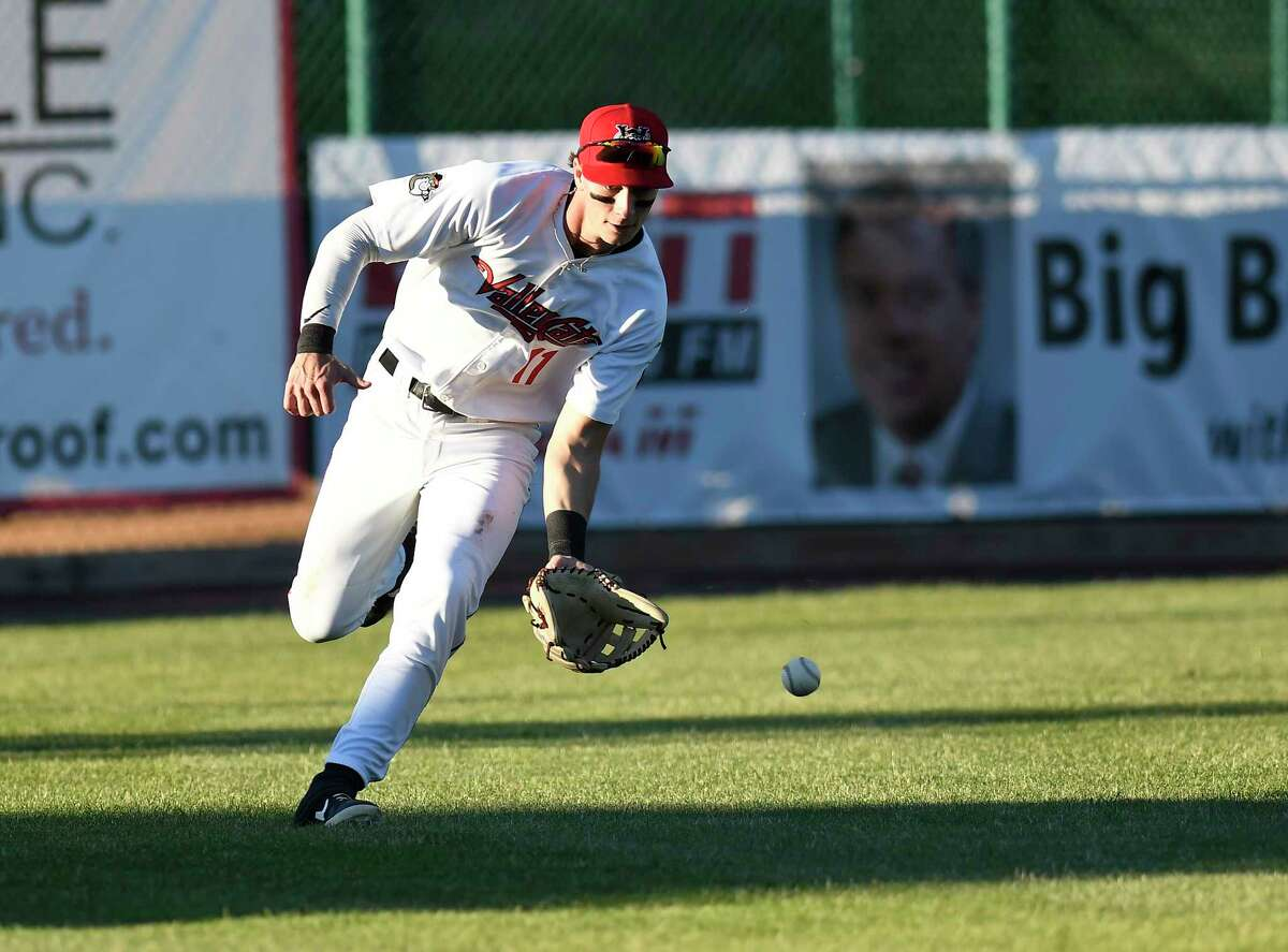 Tri-City ValleyCats Carson Maxwell (11) fields a ball against the Sussex County Miners during a minor league baseball game in Troy, N.Y., Wednesday, June 23, 2021. (Hans Pennink / Special to the Times Union) ORG XMIT: 062321_hsfb1_HP116