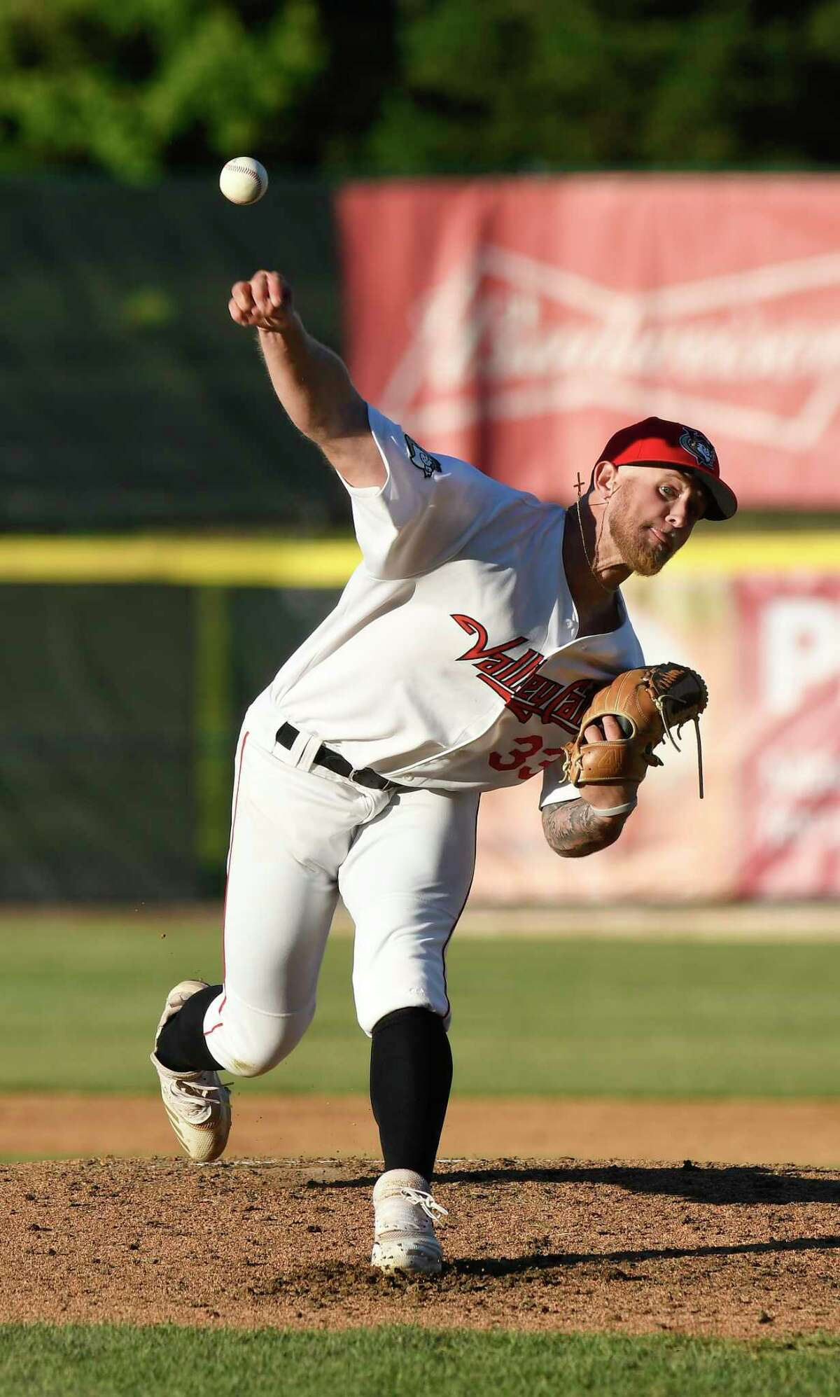 Tri-City ValleyCats pitcher Austin Cline (33) delivers a pitch against the Sussex County Miners during a minor league baseball game in Troy, N.Y., Wednesday, June 23, 2021. (Hans Pennink / Special to the Times Union) ORG XMIT: 062321_hsfb1_HP118
