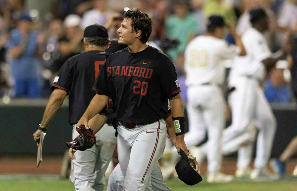 Stanford right-hander Brendan Beck, the Pac-12 pitcher of the year, walks off after giving up Vanderbilt's winning run on his wild pitch in the bottom of the ninth inning in Omaha, Neb.