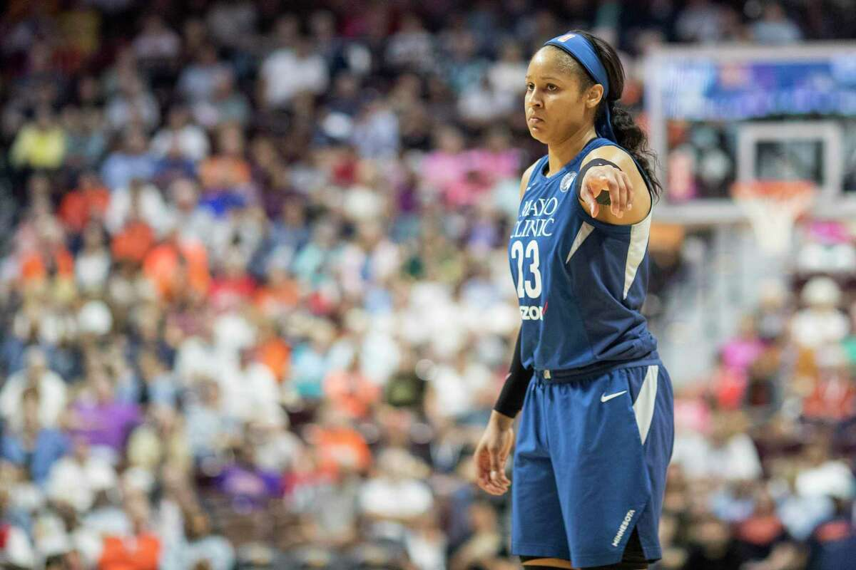 Maya Moore of the Minnesota Lynx during the Connecticut Sun Vs Minnesota Lynx, WNBA regular season game at Mohegan Sun Arena on August 17, 2018 in Uncasville, Connecticut. (Photo by