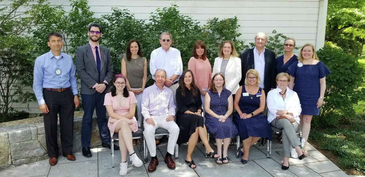 The Rotary Club of New Canaan has donated a total of $40,000 to needed programs, and services at 31 local non profit organizations. Pictured are: 2020-2021 Rotary Club of New Canaan President Alex Grantcharov, (left,) and Carolyn Corcoran, (right,) with representatives of local non profit organizations.