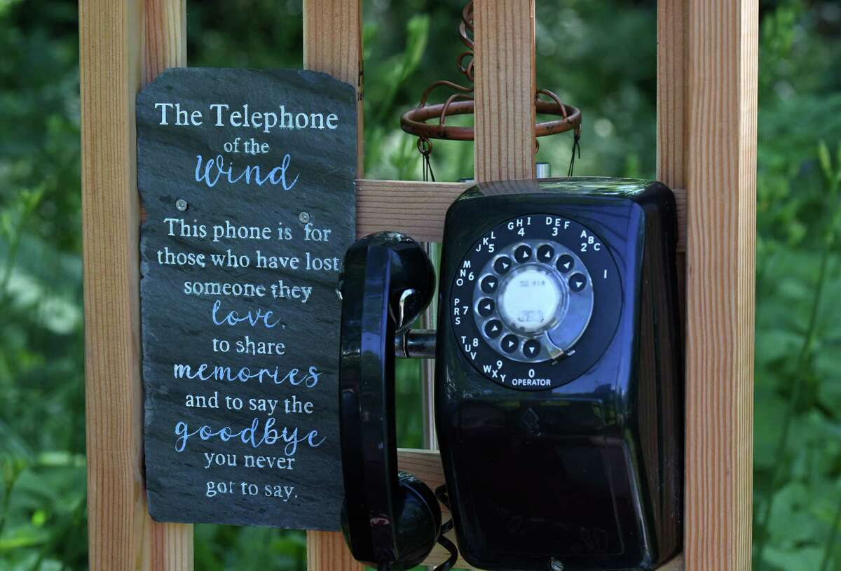Girl Scouts from Troop 3232 made a 'Telephone to the Wind' where visitors to Hudson Crossing Park can take a moment to reflect on loved ones they have lost on Wednesday, June 23, 2021, in Schuylerville, N.Y. (Will Waldron/Times Union)