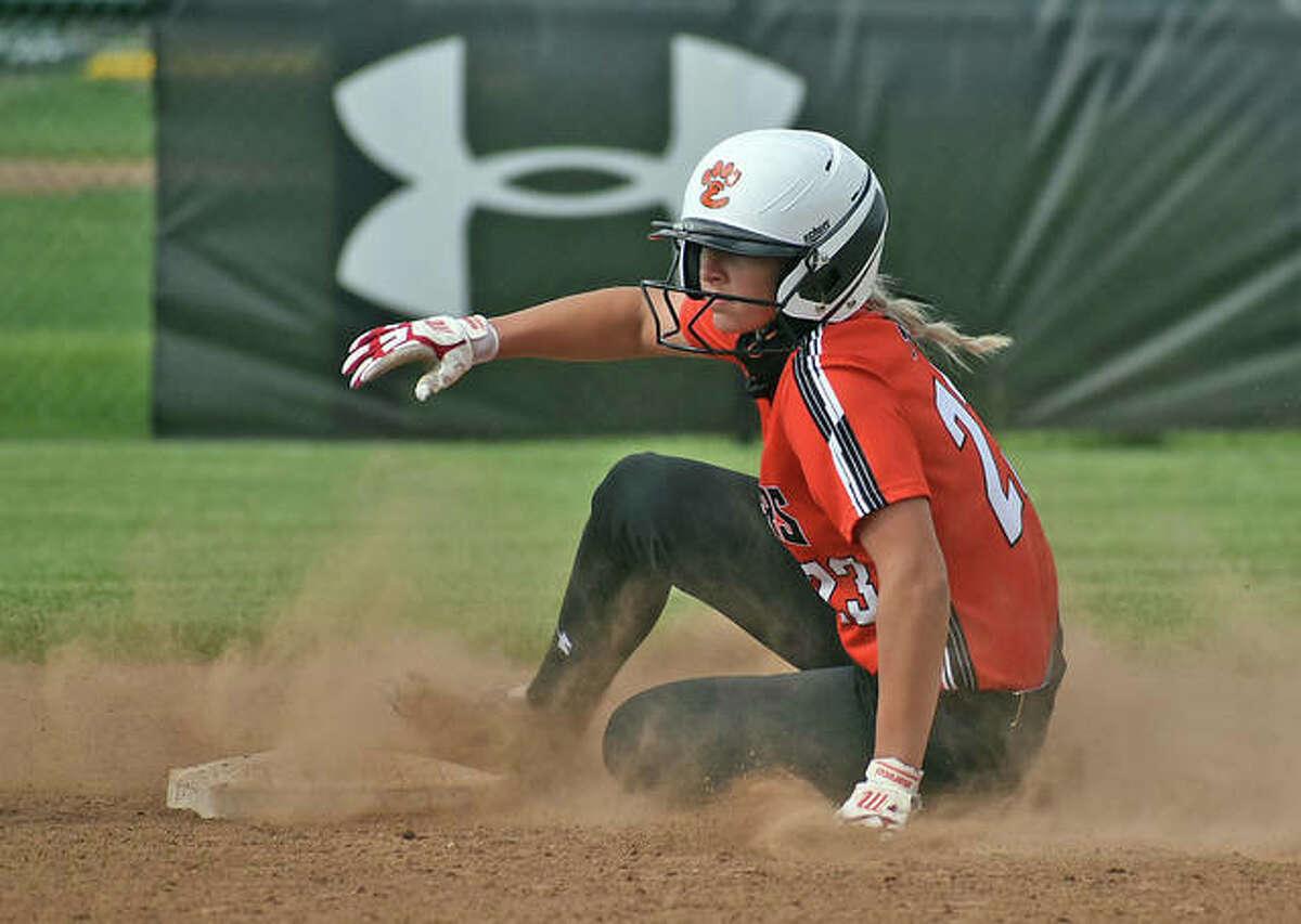 Edwardsville's Lexi Gorniak steals second base during a regular-season game against Collinsville inside the District 7 Sports Complex.