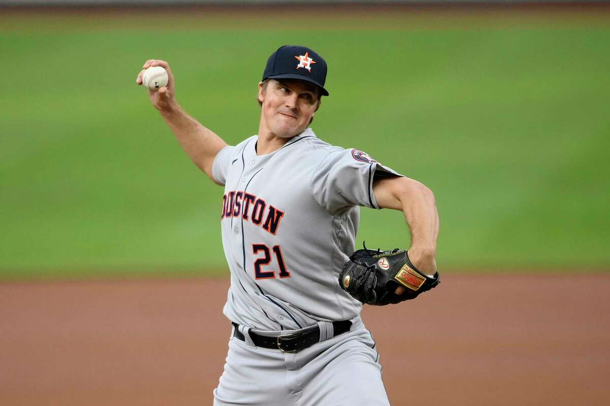 Houston Astros starting pitcher Zack Greinke delivers a pitch during a baseball game against the Baltimore Orioles, Tuesday, June 22, 2021, in Baltimore. (AP Photo/Nick Wass)