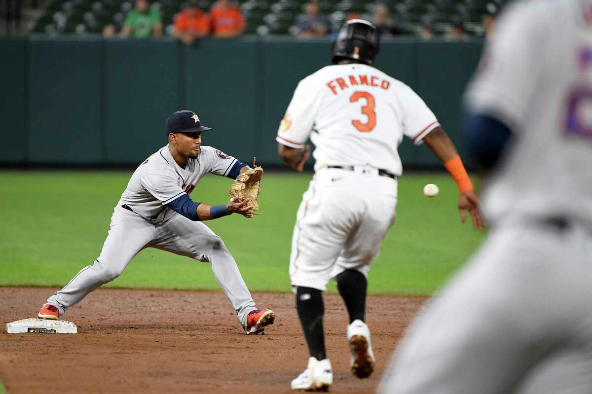 Houston Astros second baseman Robel Garcia forces out Baltimore Orioles' Maikel Franco to start a double play hit by Baltimore Orioles DJ Stewart to end the game in the ninth inning of a baseball game, Wednesday, June 23, 2021, in Baltimore. (AP Photo/Will Newton)