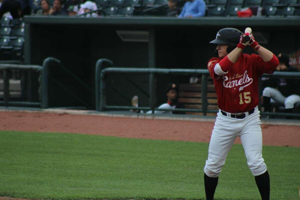 Loons left fielder Ryan Ward bats against Lake County on June 23 at Dow Diamond