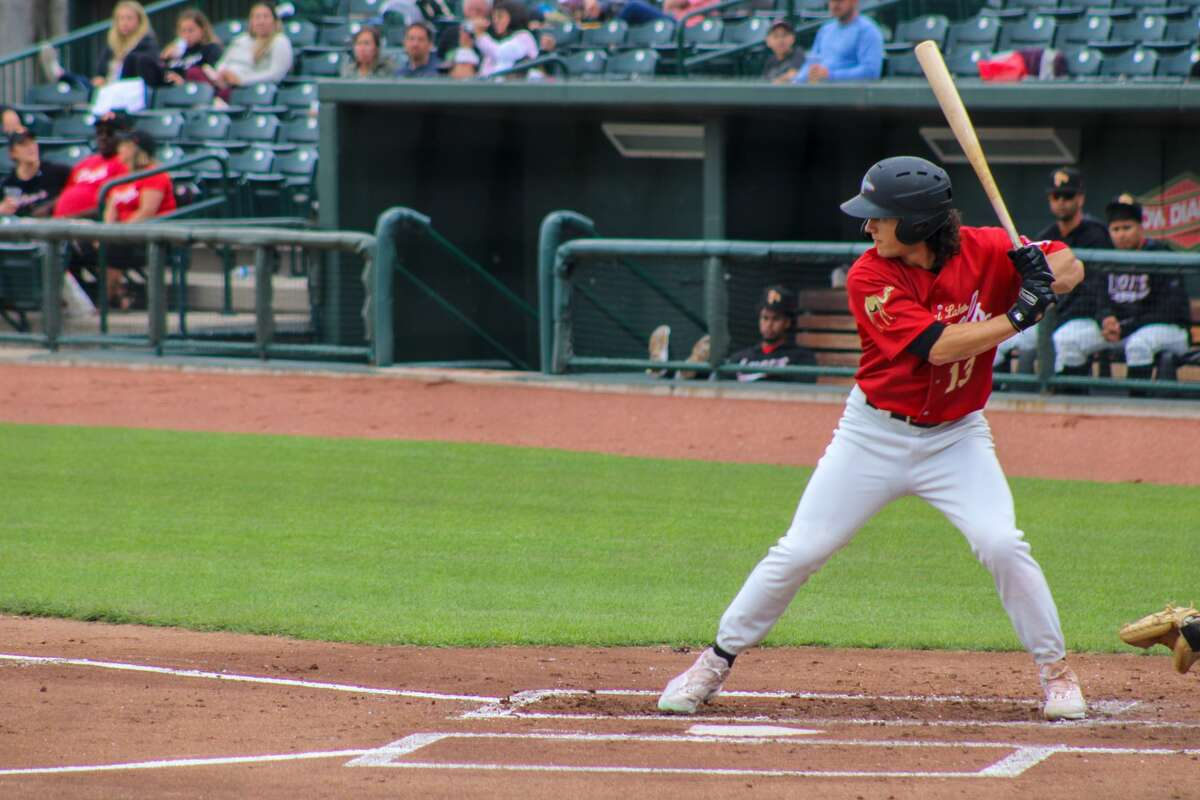 Loons center fielder James Outman waits for a pitch against Lake County on June 23 at Dow Diamond