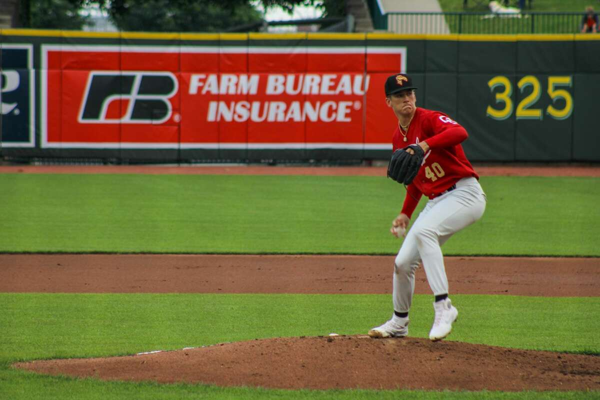 Loons pitcher Bobby Miller pitches against Lake County on June 23 at Dow Diamond.