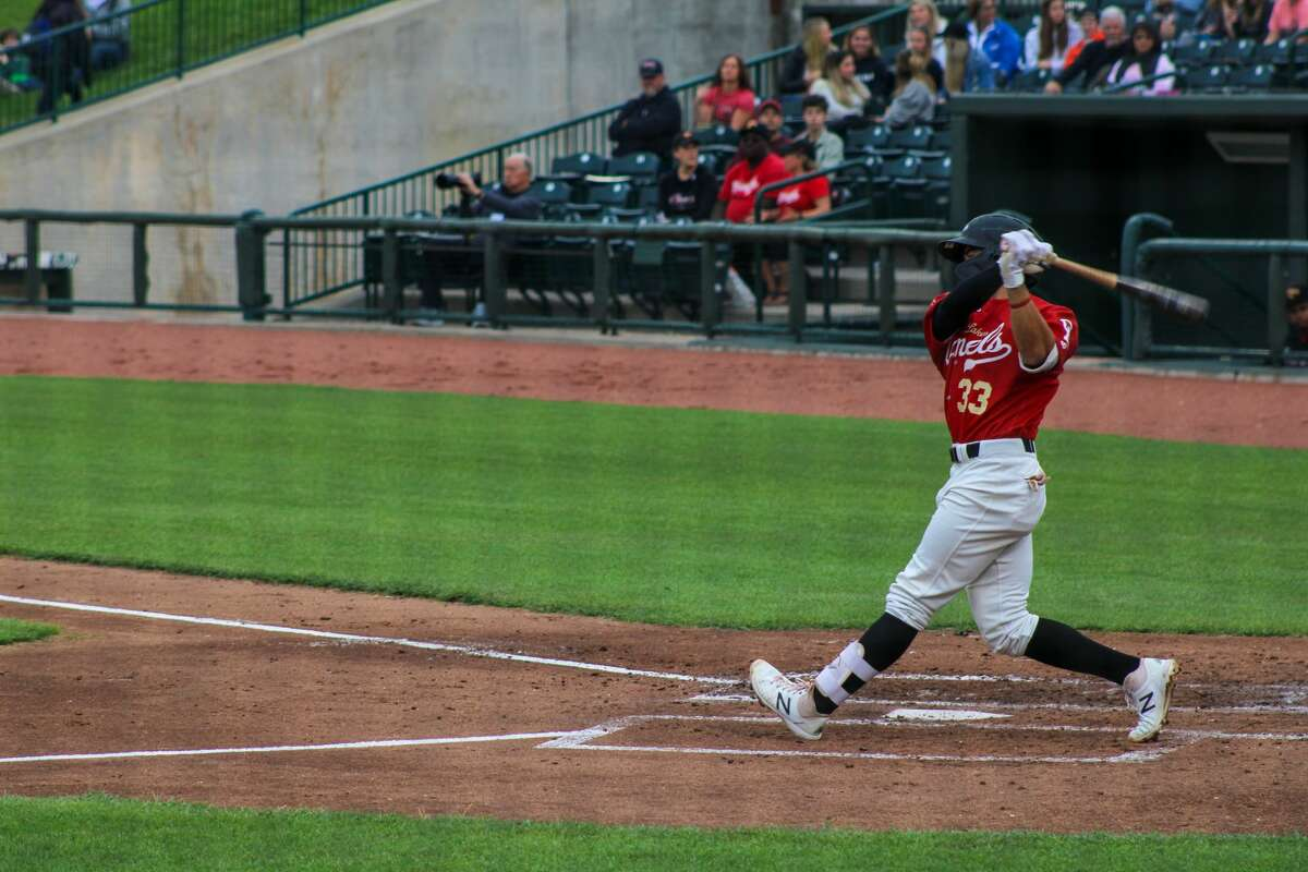 Loons second baseman Zac Ching swings against the Lake County Captains on June 23 at Dow Diamond