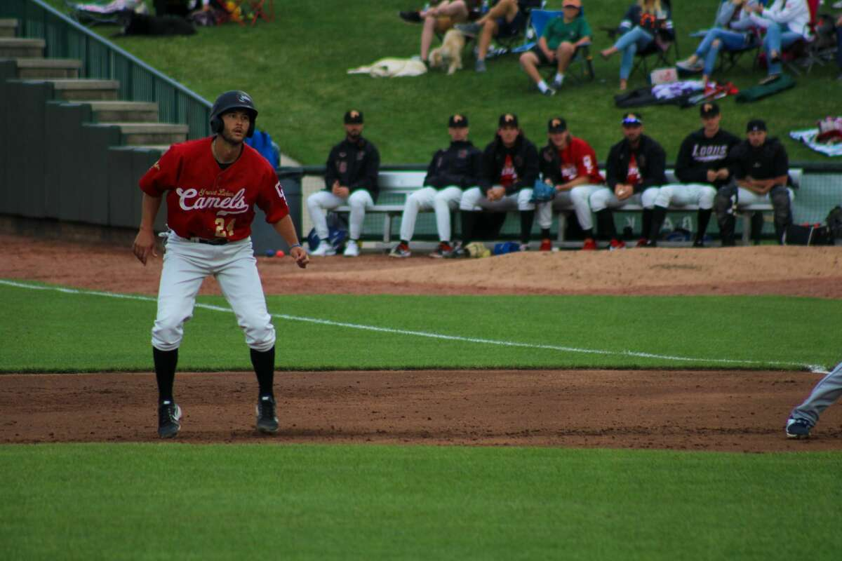 Loons first baseman Justin Yurchak leads off first base against the Lake County Captains on June 23 at Dow Diamond