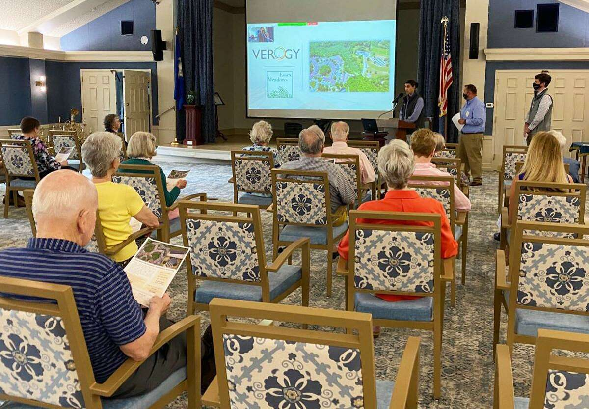 Verogy representatives spoke to members of the Essex Meadows Green Committee June 10, as well as residents and staff, outlining the environmental, financial, and community benefits that the solar array will create.