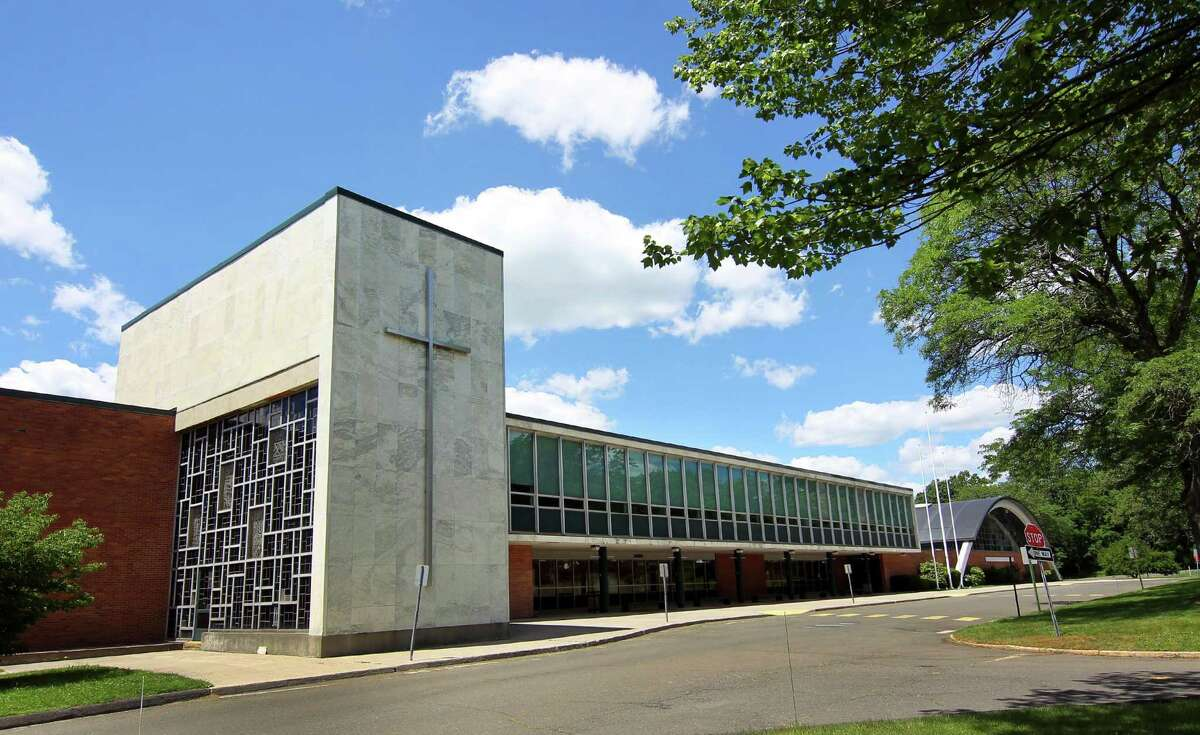 An exterior view of the former Trinity Catholic School in Stamford on Wednesday. Greenwich Public Schools announced Tuesday the building would be the alternate location this fall for displaced North Mianus students.