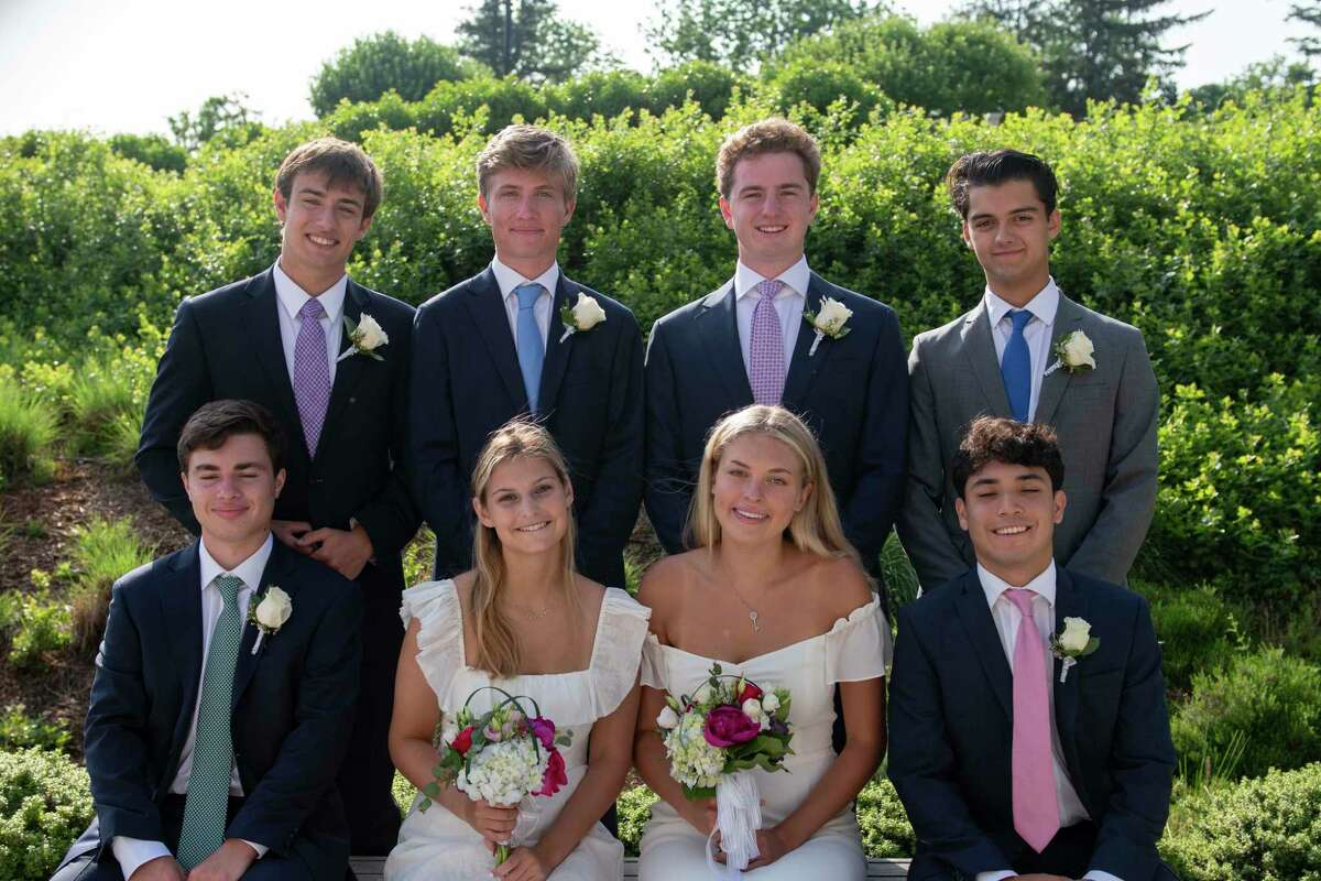The following Greenwich residents graduated from Green Farms Academy on June 10, 2021: back row, from left, Oliver Kennon, Carsten Weis, Jonnie Jackson and Oliver Weiser; and front row, from left, Charles Kolin, Lily Russian, Dasha Timasheva, and Seby Bodian.