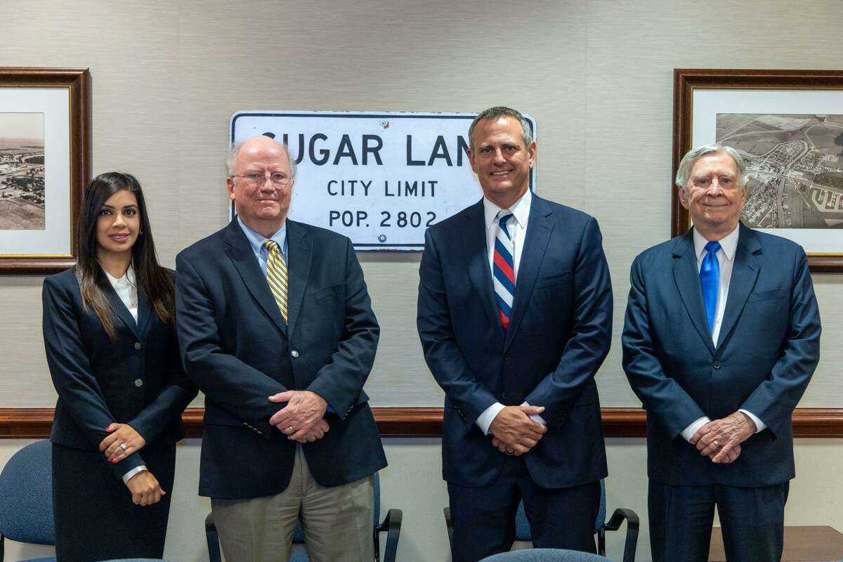Craig Landin, presiding judge at city of Sugar Land, with newly appointed associate judges Erum Jivani, Shawn McDonald and James Connelly.