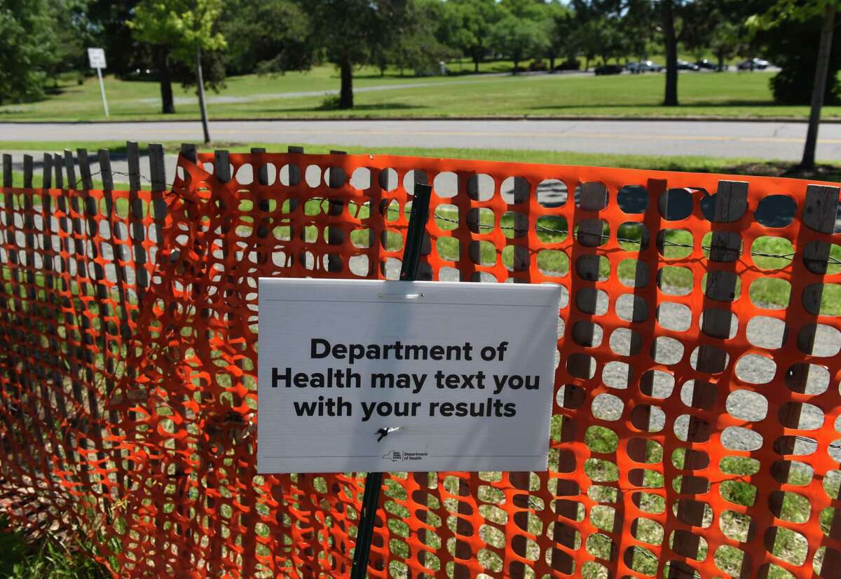 The University at Albany COVID-19 testing is closed, although some signage around the campus was still in place on Thursday, June 24, 2021, in Albany, N.Y. (Will Waldron/Times Union)