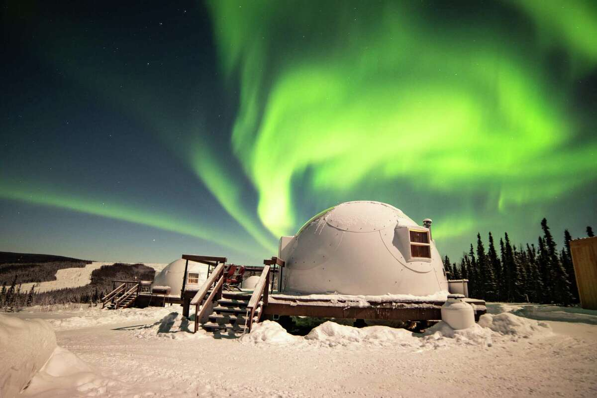 Borealis Basecamp is on 100 acres of boreal forest 25 miles north of Fairbanks, Alaska.