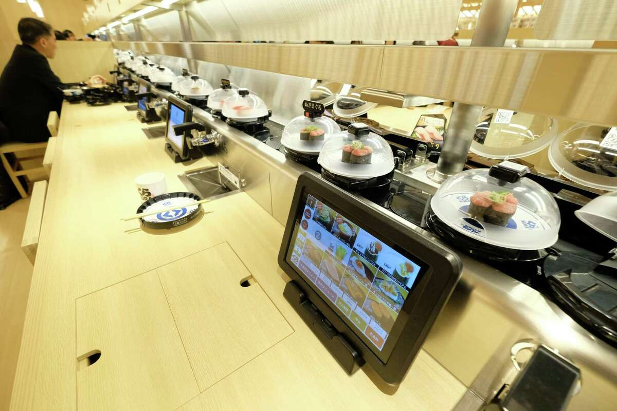 This 2020 photo shows the flagship Kura Sushi location in Tokyo.