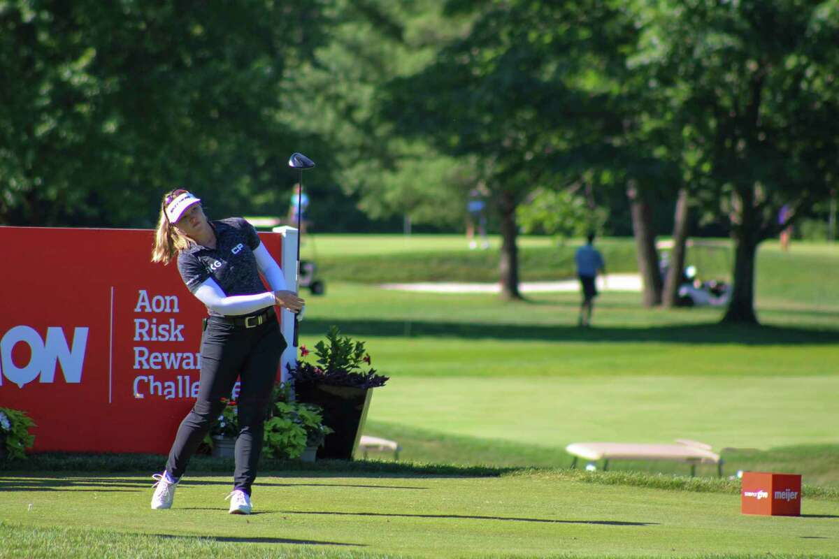Brooke Henderson tees off on No. 14 in the Meijer LPGA Classic Pro-Am on June 16 at Blythefield Country Club in Grand Rapids.(Austin Chastain/austin.chastain@hearstnp.com)