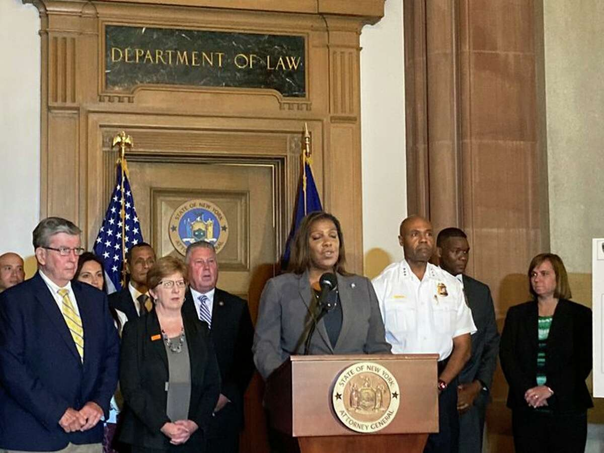 Attorney General Letitia James discusses an investigation of drug and weapons trafficking in Albany that led to the arrest of 47 people. State and local authorities disclosed the investigation at a Thursday afternoon news conference.