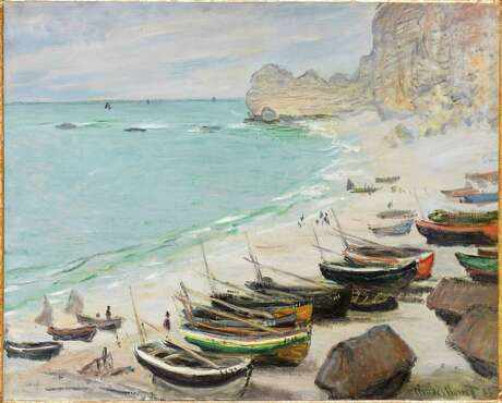 """Claude Monet, """"Boats on the Beach at Étretat,"""" 1883, comes to Houston as part of """"Monet to Matisse: Impressionism to Modernism from the Bemberg Foundation"""" presented by the Museum of Fine Arts Houston."""