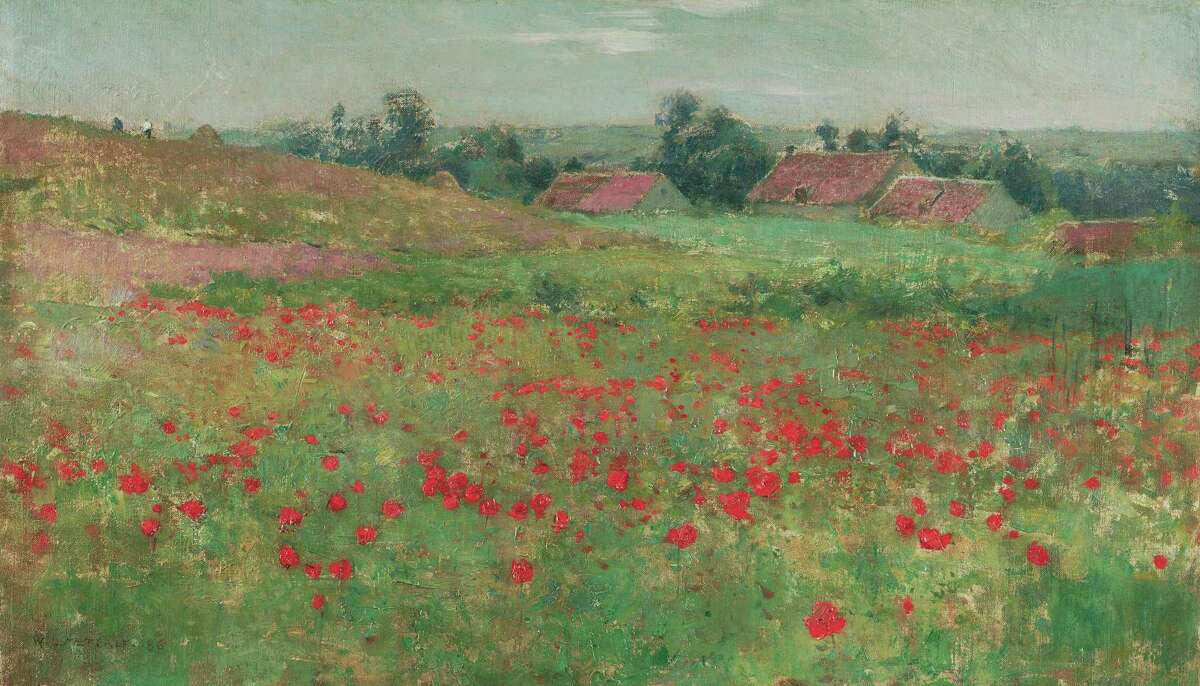 """Willard Metcalf's """"Poppy Field (Landscape at Giverny)"""" oil on canvas will be on display at the San Antonio Museum of Art as part of its exhibition """"America's Impressionism: Echoes of a Revolution."""""""