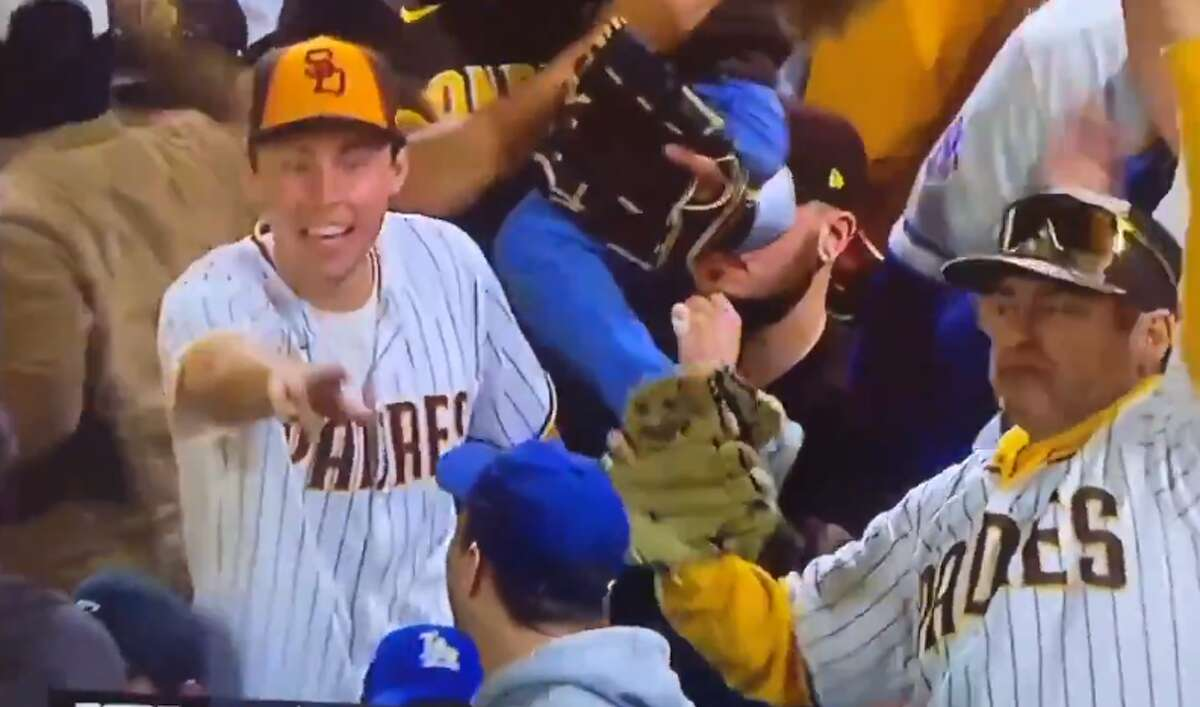 This Padres fan had a message for the Dodgers fan sitting near him when San Diego swept Los Angeles on Wednesday night.