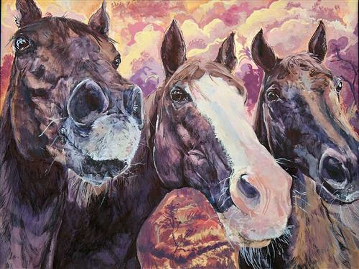 """Hamilton Middle School eighth grade student Ravine Cohen's artwork """"Sunkissed Stallions,"""" sold for $30,000 during the Houston Livestock Show and Rodeo School Art Auction. Three pieces from CFISD students were selected to participate in the auction, an honor as more than 3,200 pieces were part of the preliminary judging in the HLSR School Art Program."""