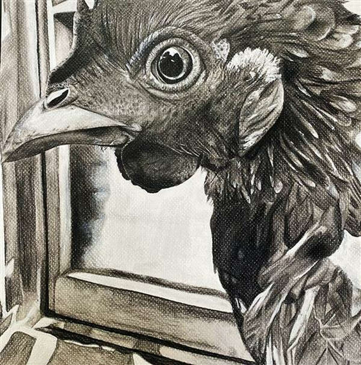 """Jersey Village High School junior Amy Muery's artwork """"Laying Hen,"""" sold for $12,000 during the Houston Livestock Show and Rodeo School Art Auction."""