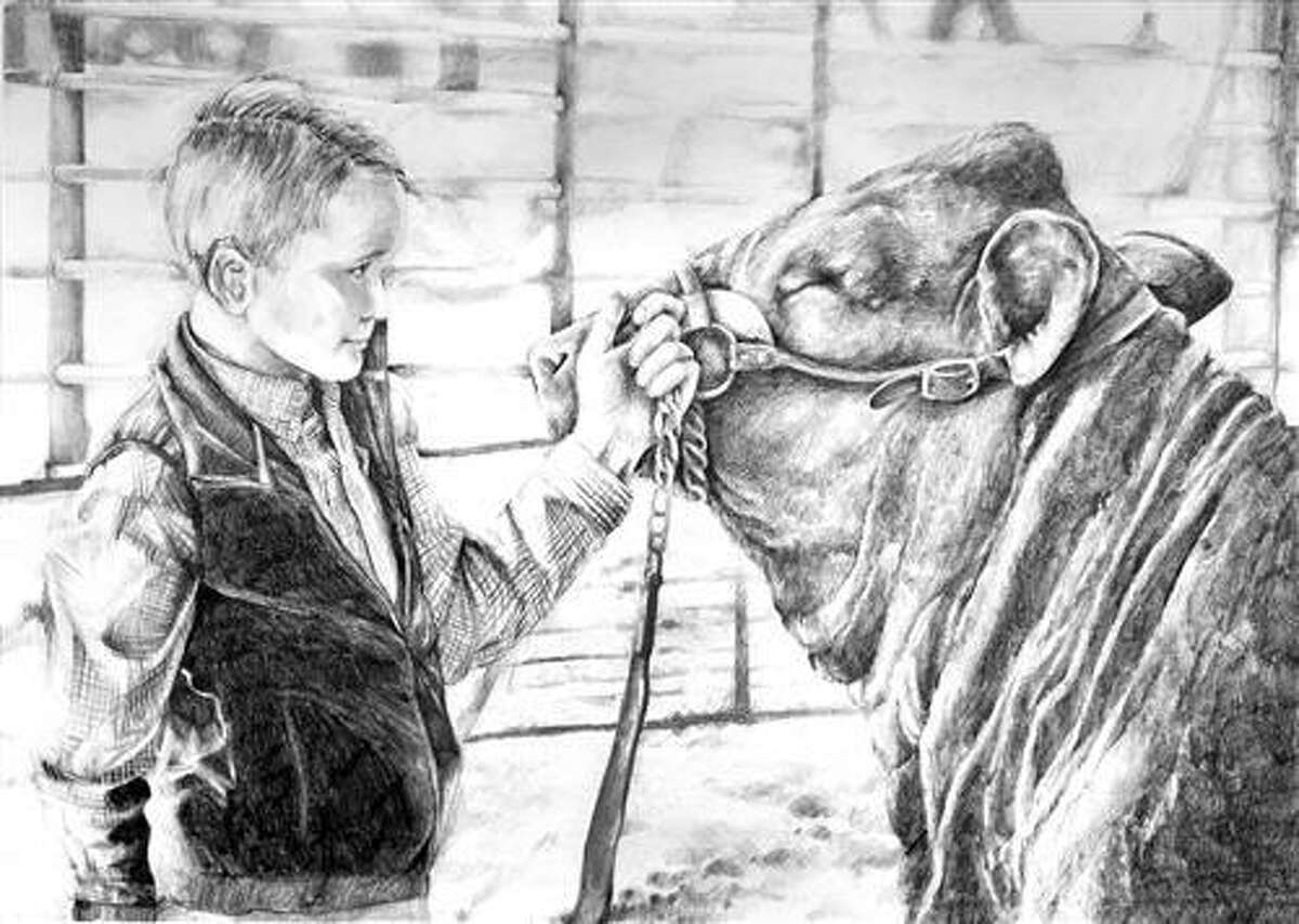 """Cypress Woods High School freshman Magdalena Baughman sold her artwork, titled, """"Bridger & Pico,"""" for $7,000 in the Houston Livestock Show and Rodeo School Art Auction."""