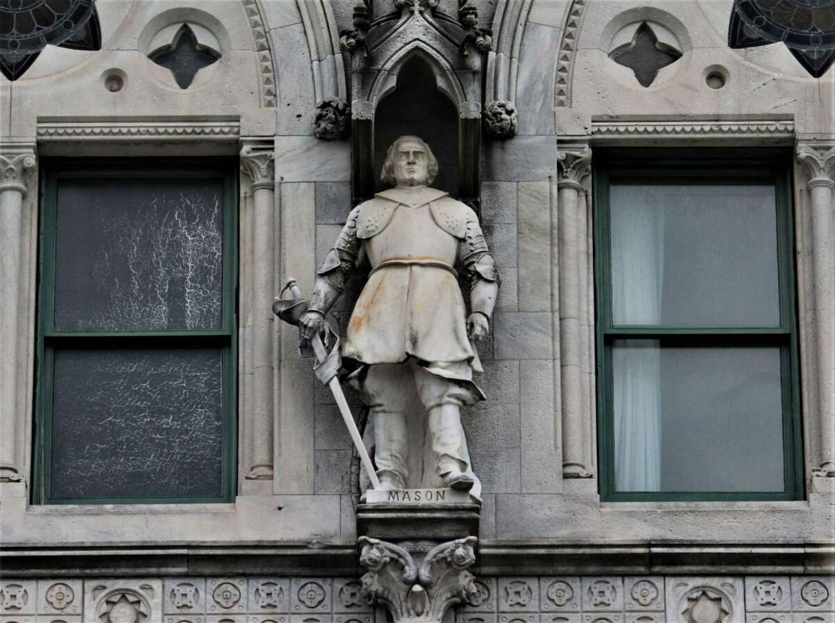The statue of English settler John Mason has been targeted for removal from the exterior of the State Capitol.