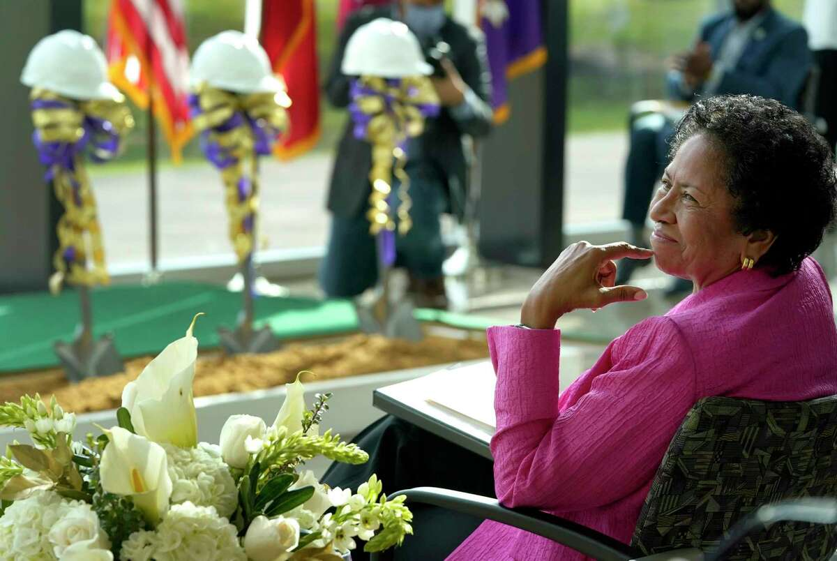 President Ruth Simmons is shown at the groundbreaking ceremony for the $70 million engineering building at Prairie View A&M University Tuesday, June 8, 2021 in Prairie View.
