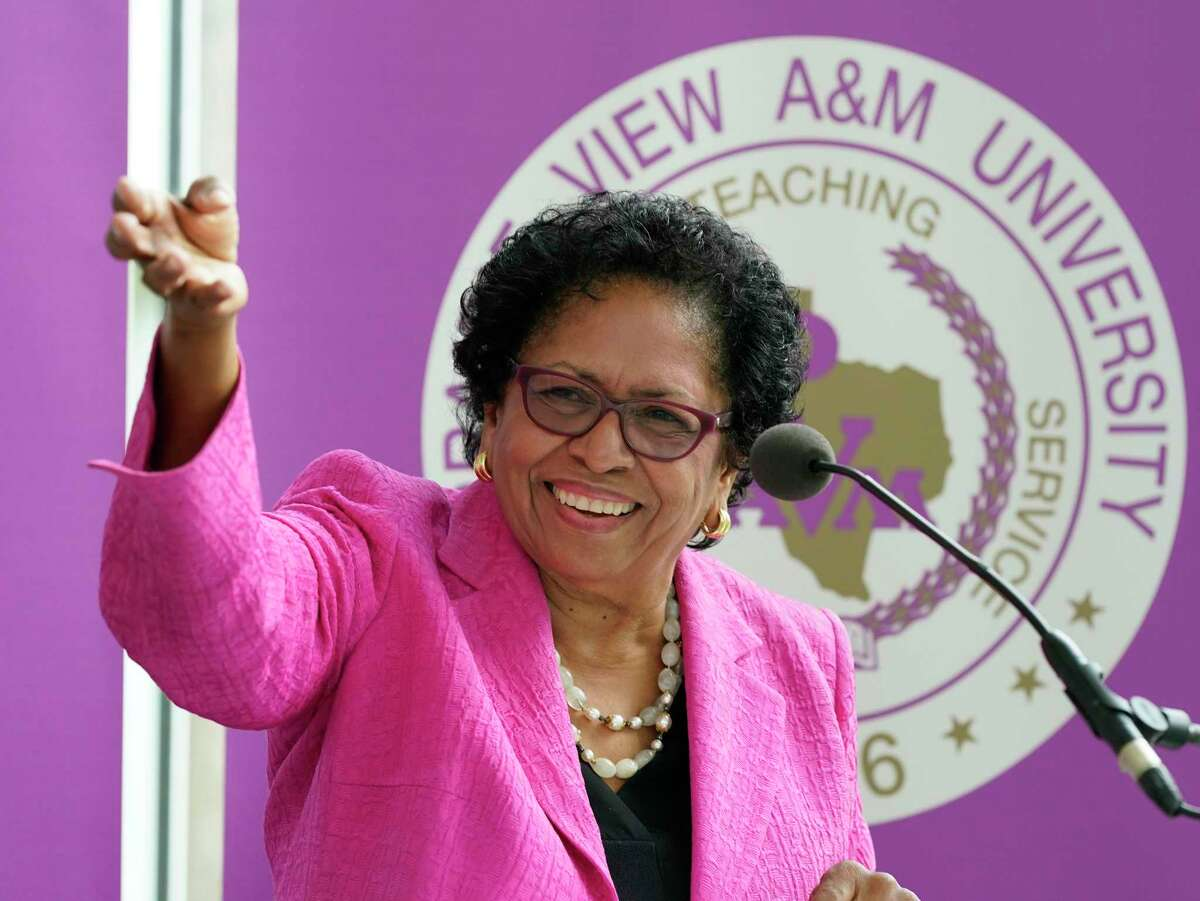 President Ruth Simmons speaks at the groundbreaking ceremony for the $70 million engineering building at Prairie View A&M University Tuesday, June 8, 2021 in Prairie View.