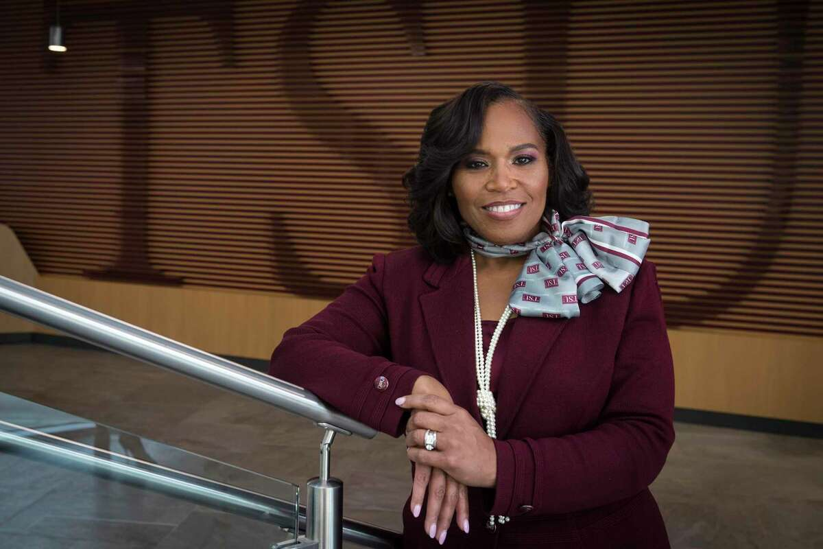 Texas Southern University President Dr. Lesia L. Crumpton-Young poses for a portrait after she was introduced as the school's 13th president Thursday, June 17, 2021 in Houston.Crumpton-Young comes from Morgan State University in Baltimore, where she served as provost.