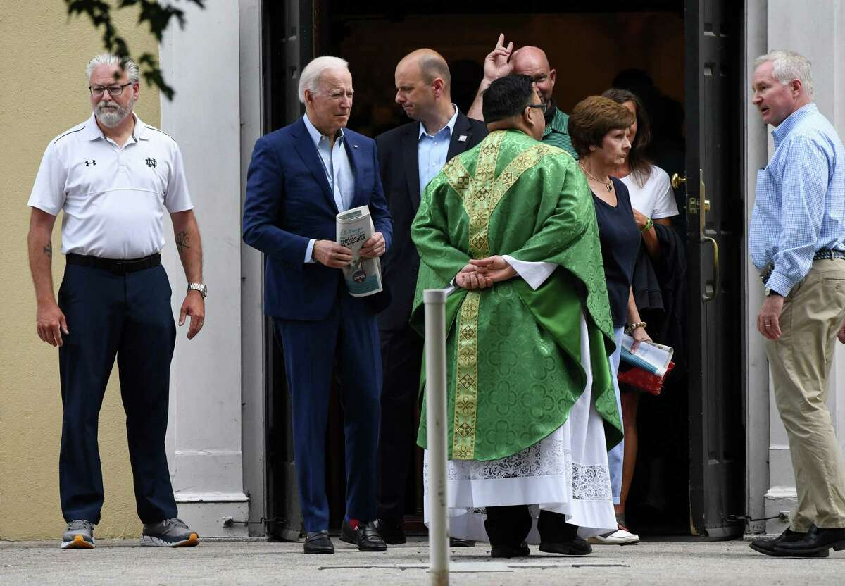 President Joe Biden leaves a service at St. Joseph on the Brandywine Catholic Church in Wilmington, Delaware, last month. U.S. Roman Catholic bishops issued a challenge to Biden to end his support for abortion rights or be denied holy communion. Readers aren't having it.