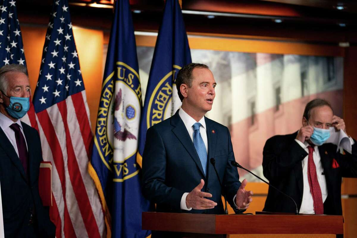Rep. Adam Schiff, D.-Calif., the House Intelligence Committee chair, speaks on Capitol Hill last year. News reports assert the Trump administration subpoenaed Apple for electronic data for Schiff and another Democrat.