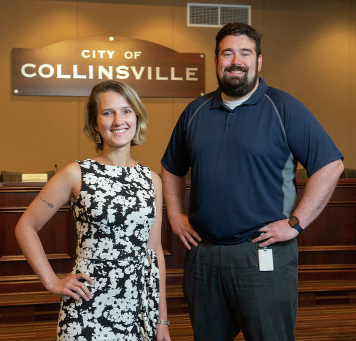 Waleska Valle (STEM Center GA and Sustainability Intern) is pictured with Derek Jackson (Deputy City Manager for the City of Collinsville.)