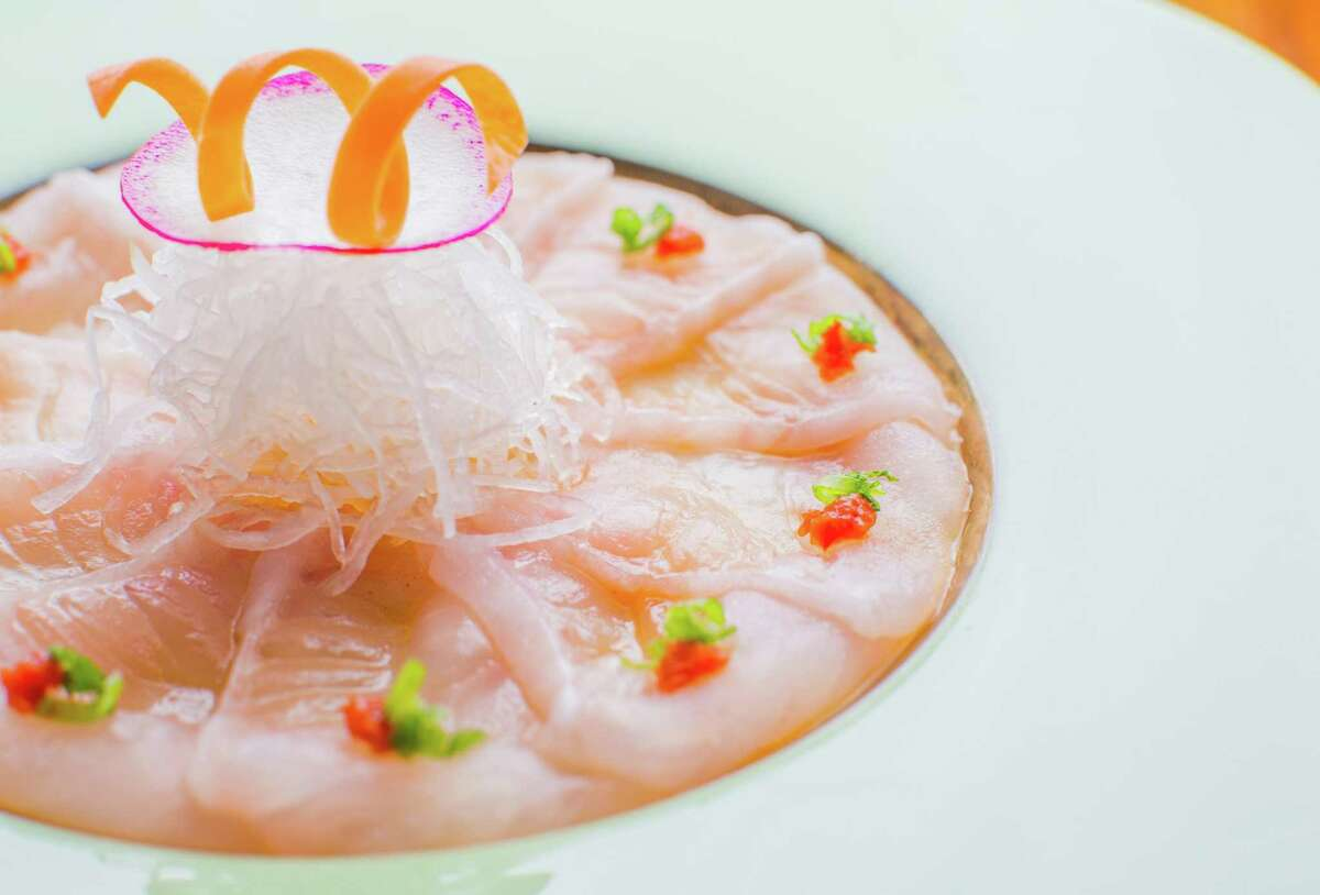 Usuzukuri, Japanese shark skin flounder at MF Sushi in the Museum District.