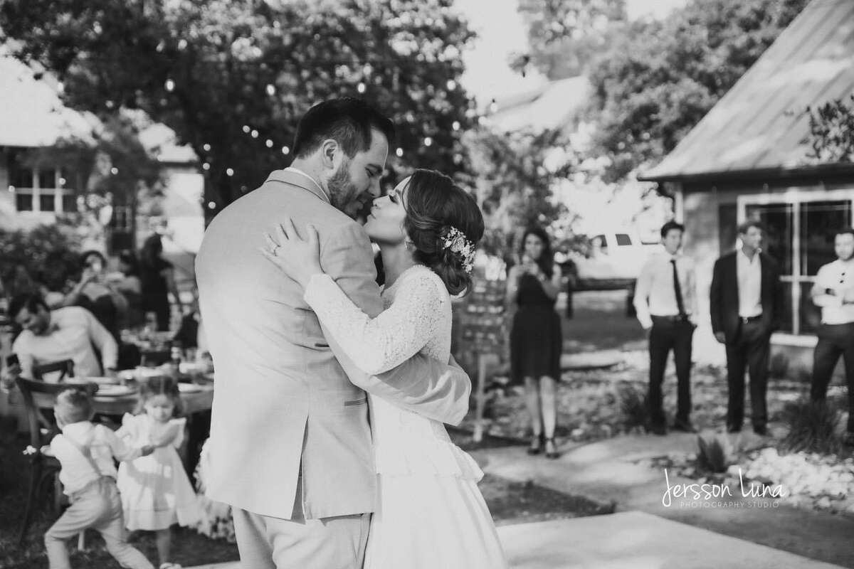 The newlyweds sharing their first dance as a married couple.