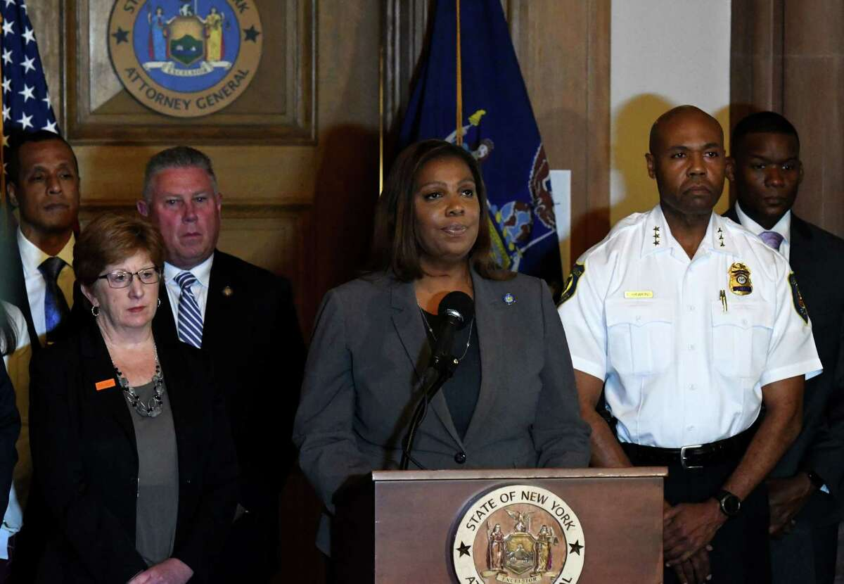Attorney General Letitia James ripped into the National Rifle Association Sunday for re-appointing a top official that has been served by her office. (Will Waldron/Times Union)