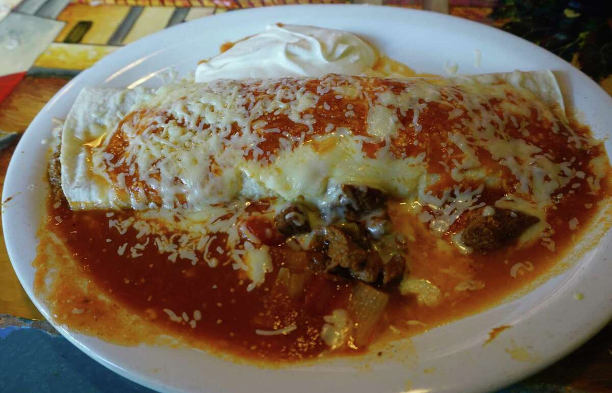 A hot and spicy burrito from El Burrito Loco was the main course served in the first edition of Out to lunch with Joe. (Pioneer photo/Joe Judd)