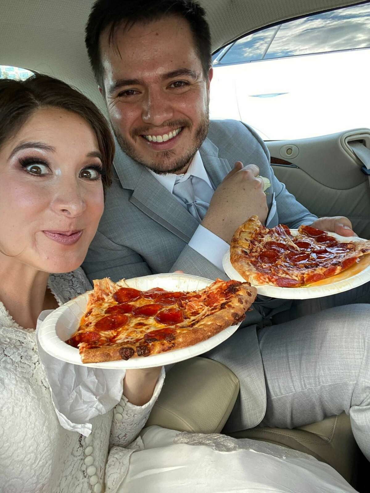 Mariana and her husband Gerado made a stop at Costco after their wedding to enjoy a slice of their favorite pizza.